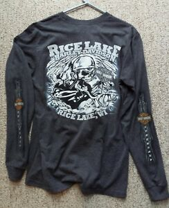Harley Davidson Skull T Shirt Rice Lake Wi Long Sleeve Legend Logo
