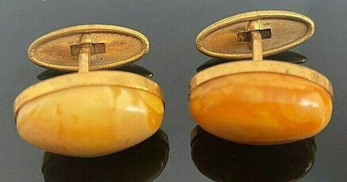 Vintage amber and gold cufflinks