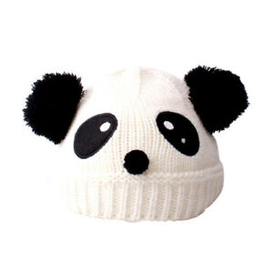 2a737711615 Winter Warm Baby Toddler Newborn Wool Knit Hat Panda Dual Hairball ...