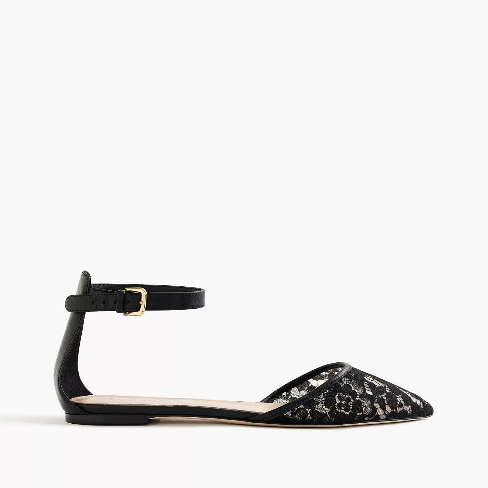 NIB J. Crew nero Lace Flats with Ankle Strap Dimensione 7.5  158