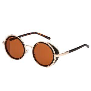 Leopard-Tiger-Steampunk-Glasses-Cyber-50s-Round-Retro-Vintage-Goggles-Sunglasses