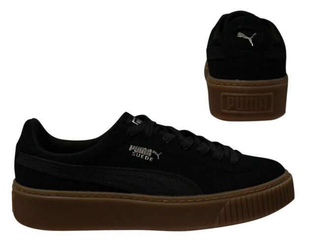 4672f64f91aa Puma Suede Platform Animal Womens Low Top Black Lace Up Trainers 365109 01  D67