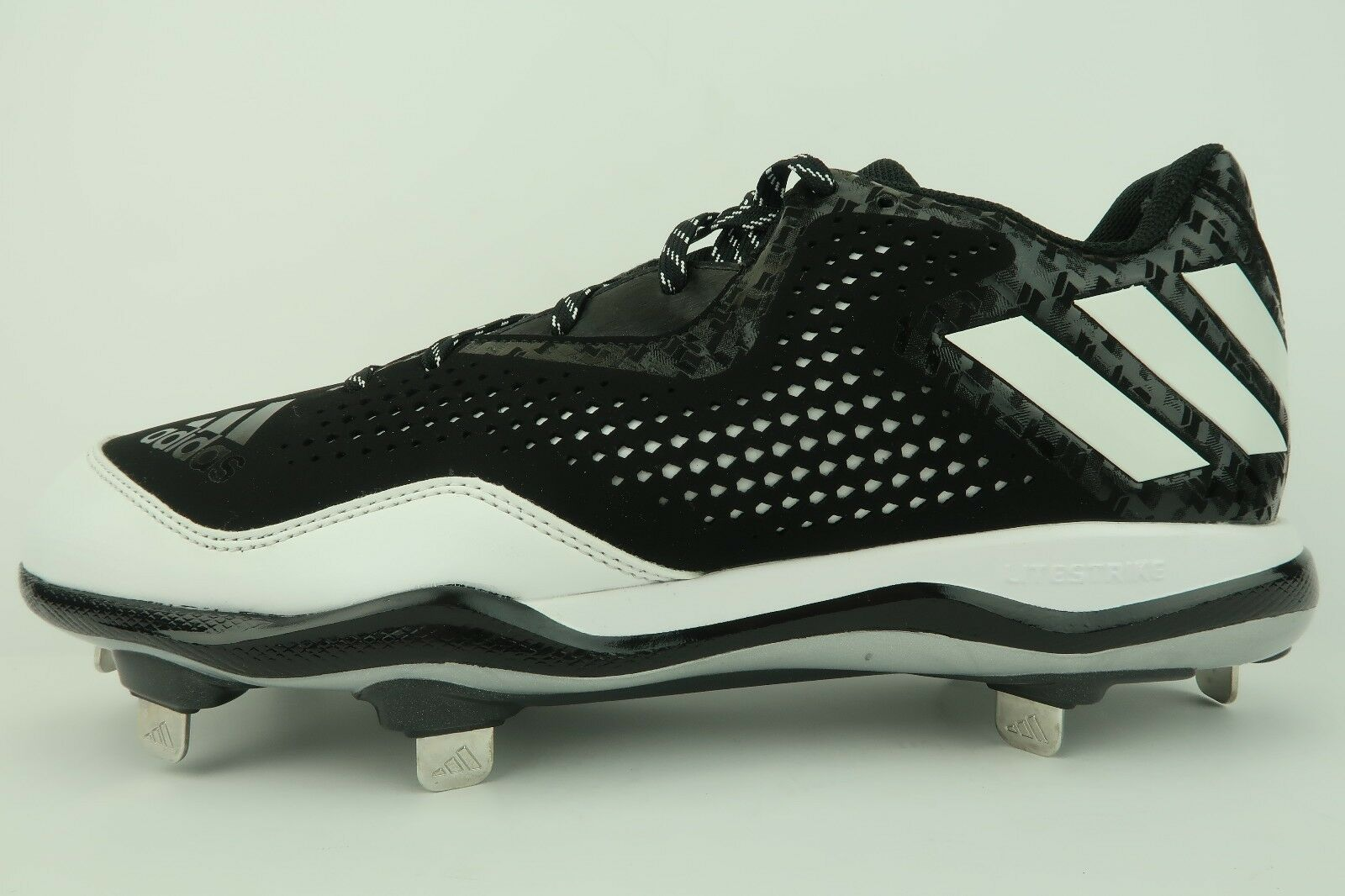 buy popular 6b1d1 3901f ... Mens Adidas PowerAlley 4 Black Black Black White Baseball Cleat Shoe  Q16481 Size 11 New a7b8f8 ...