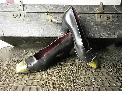 Marchio Popolare Giancarlo Ferrara Pumps Scarpe Made Italy Oro Marrone 90er True Vintage 90s Shoes-mostra Il Titolo Originale Vari Stili