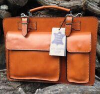 Hand Made Designer Italian Tan Leather Briefcase Laptop Satchel Bag Office Case