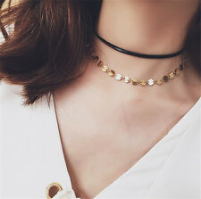 1 Pc Dual-layer Short Choker Necklace Shining Metal Sequins Fashion Jewelry