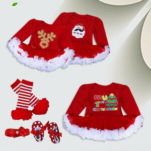 3PCS Newborn Baby Girl Xmas Clothes Tutu Romper+Shoes+Headband Infant Outfit Set