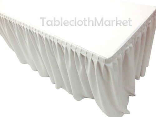 4' Fitted Table Skirting Cover w  Top Topper Single Pleated Wedding Weiß