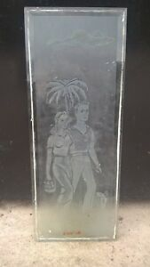 Vintage etched glass panel