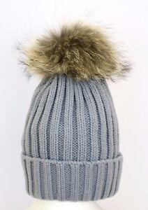 Grey Real Fur Pom Pom Hat Ladies Beanie Winter Hats Cap Raccoon ... 2caf1876198