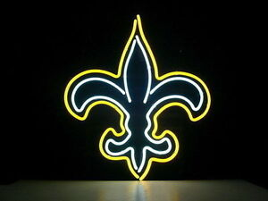New Rare Orleans Saints Real Glass BEER BAR NEON LIGHT SIGN