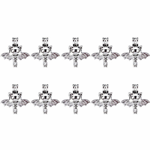 Wholesale K505 10X//lot Silver Flying Halloween Bat Pearl Beads Cage Locket