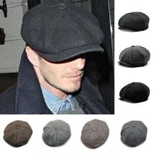b54e894d47c Wool Herringbone Tweed Gatsby Men Newsboy Cap Ivy Hat Golf Driving ...