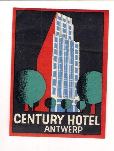 A8 Alter Kofferaufkleber Century Hotel Antwerp