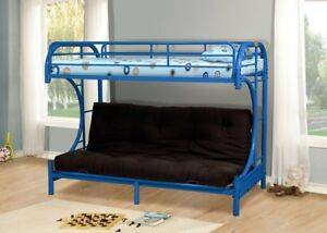 Blue Metal Twin Futon Bunk Bed Couch Kids Boys Girls Bedroom