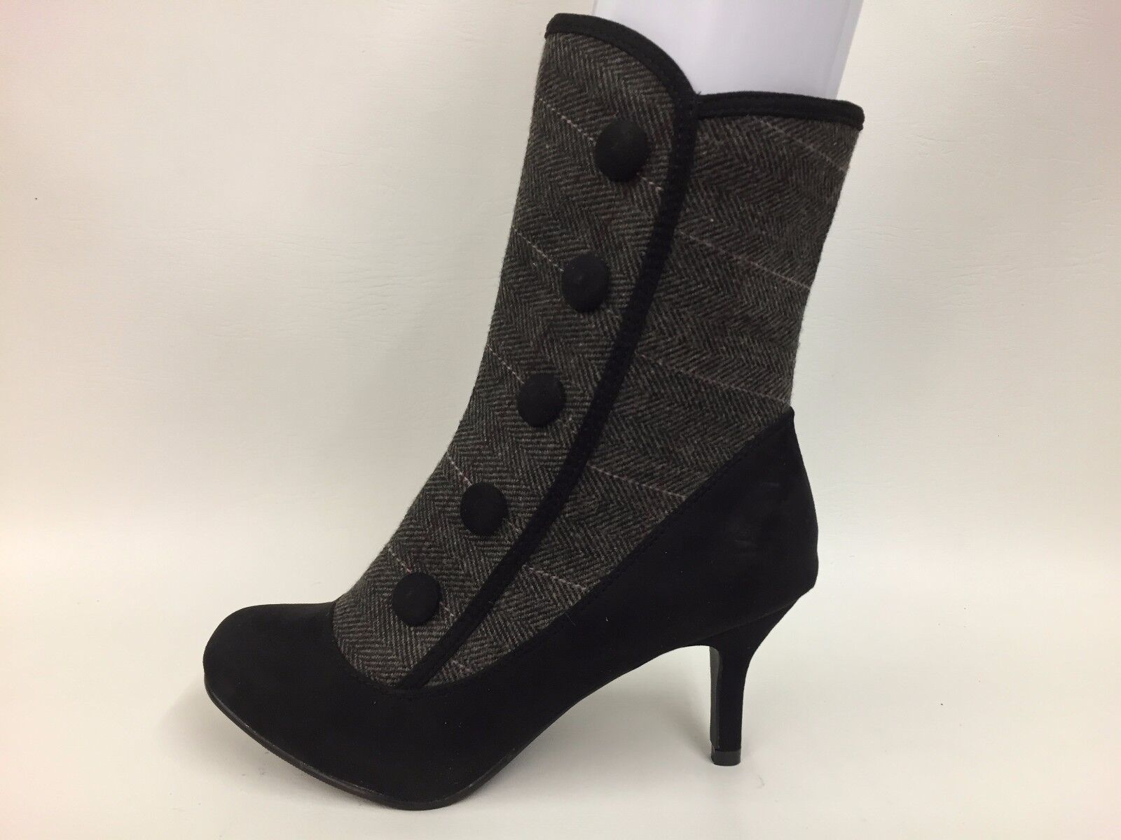 Brand New Ladies Joe Browns Black Suede & Grey Herringbone Fashion Boots  3s-8s