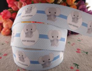 Grosgrain-Baby-Shower-Elephant-Ribbon-1-034-25mm-Pink-or-Blue