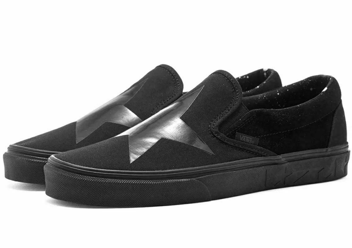 Vans X Mens 10.5 Womens 12 Classic Slip On DB David Bowie Blackstar Sneakers New