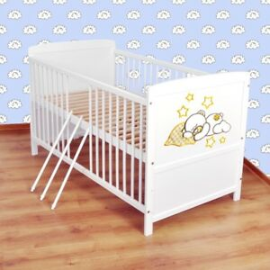 Details zu Babybett Kinderbett - Juniorbett umbaubar 140x70 Weiß nr 16