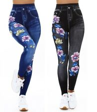 Leggings Damen Jeanslook Shape High Waist Leggings mit Nieten und Strass