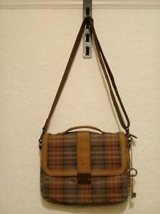 Tartan Fossil Laptop Mini Kuhfell Trim Satchel Büro Messenger Tasche Leder Igvf6Y7bmy