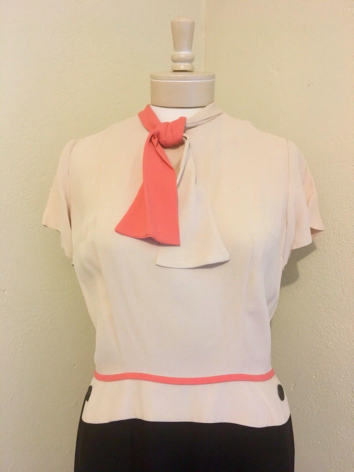 1940's RARE Vintage Lt Pink, Coral, Black Color B… - image 3