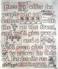 1984 KELLOGGS 'Rice Crispies' Print Advert (Free 31p Stamp) - Vintage Comic Ad