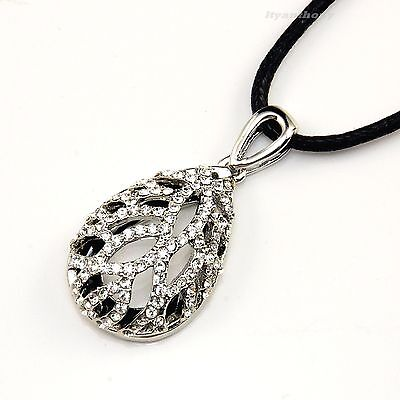 Beauty Crystal Silver Rhodium Plated Teardrop Shaped Pendant Necklace