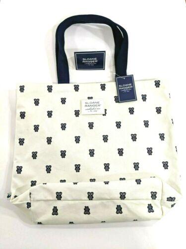 NWT Sloane Ranger Ivory Preppy Blue Owl Classic Canvas Open Shoulder Tote Bag