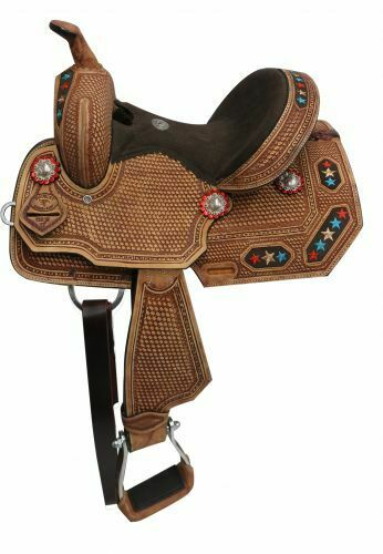 Youth Barrel Saddle with Embroidered Star Inlay Full QH Bars 12  NEW