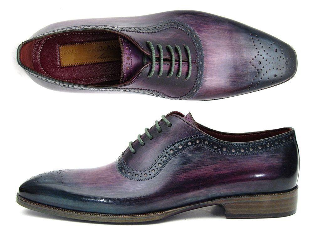 Paul Parkman Uomo Viola & Navy Medaglione Toe Oxfords (ID#PR88TT)