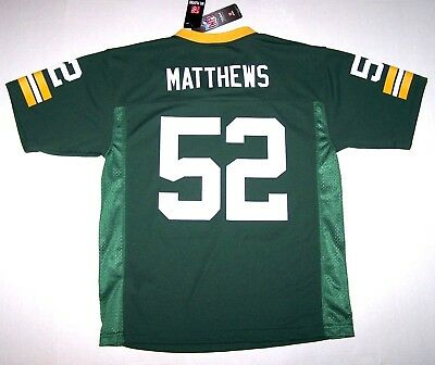 new concept c0cb3 afbb9 Nwt New Green Bay Packers Jersey NFL Football Clay Matthews Green Nice Boy  Youth | eBay