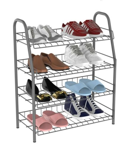 Uniware 18405 4 Tier 12 Pairs Metal Shoe Rack,White//Black//Gray
