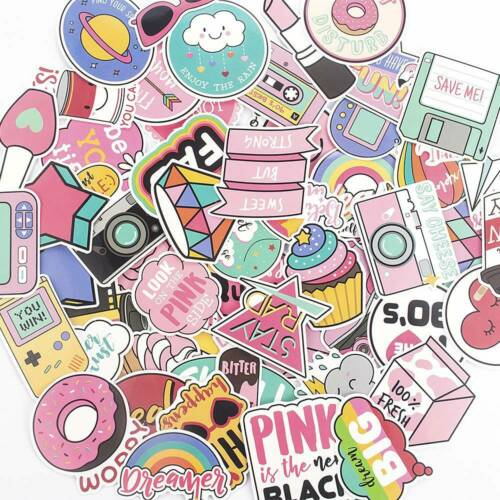 60pcs Anime Cute Pink Stickers Decals Skateboard Car Luggage Laptop Vinyls Lot