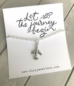 Let-The-Journey-Begin-Plane-Message-Card-Silver-Necklace-Leaving-Travel-Gift