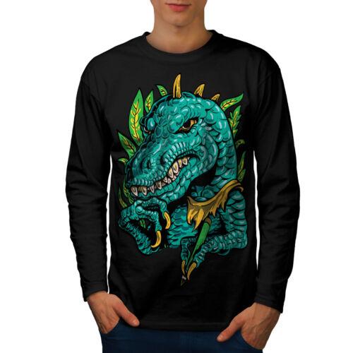 Wellcoda Cool Dinosaur Mens Long Sleeve T-shirt Reptile Graphic Design
