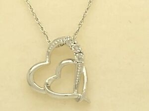 Kay Jewelers Sterling Silver Diamond Accent Double Heart Necklace 18 2 5g Ebay