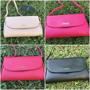 NWT-FURLA-Lilli-Small-Crossbody-Leather-Bag-Purse-Clutch-Black-Pink-Red-Ballet