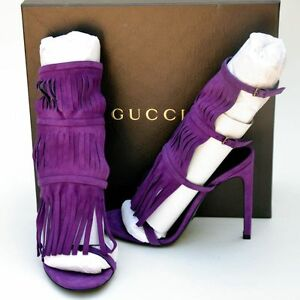 GUCCI New sz 37.5 7.5 Womens Designer Purple Gladiator Heels Shoes