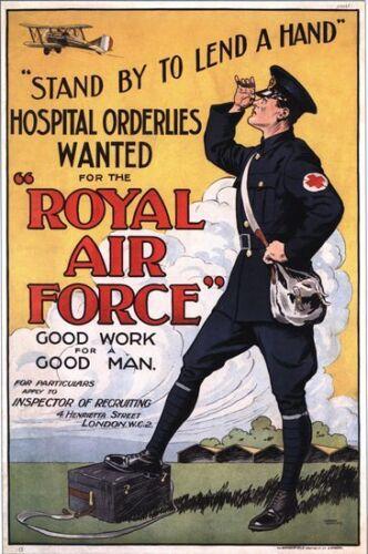 Vintage World war 1 RAF Hospital Orderlies Recruitment Poster A3//A2//A1 Print