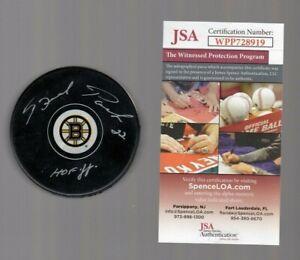 Brad-Park-Signed-Autograph-Bruins-Logo-Puck-W-HOF-88-inscription-JSA-WPP728919