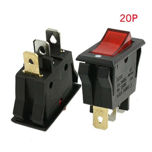 Red AC 15A//250V 20A//125V ON-OFF 2 Position SPST Boat Rocker Switch 3 pins