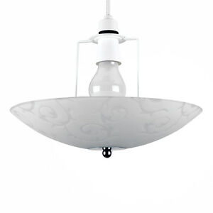 Frosted-Glass-Silver-Chrome-Floral-Design-Ceiling-Light-Uplighter-Easy-Fit-Shade