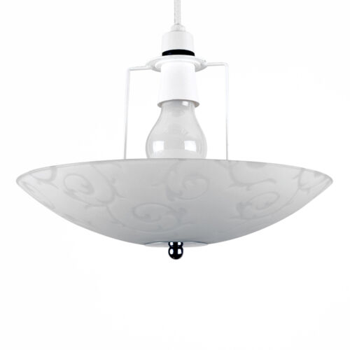 Frosted Glass Silver Chrome Floral Design Ceiling Light Uplighter Easy Fit Shade