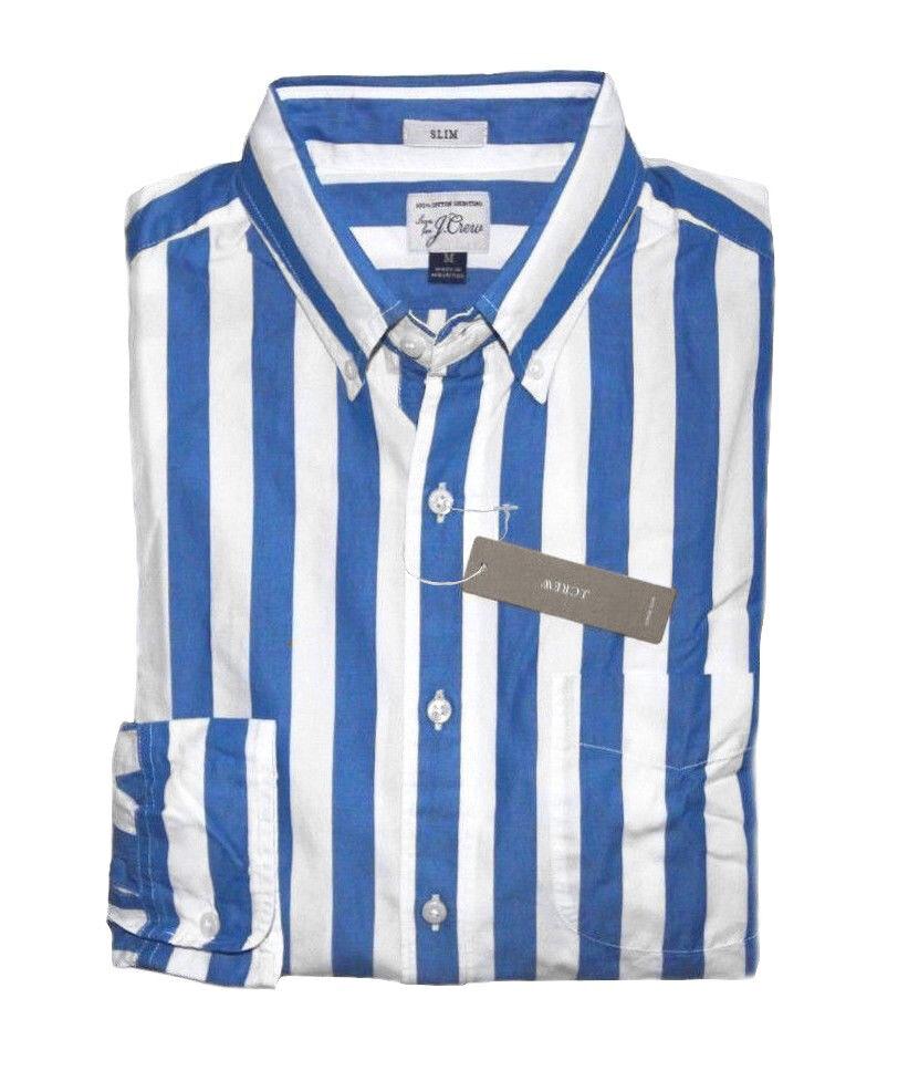 J Crew - Mens XL - Slim Fit - NWT - bluee Cabana Striped Secret Wash Casual Shirt