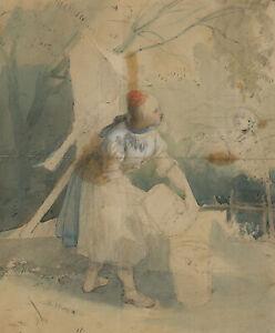 J.DIELMANN (1809-1885), Szene am Brunnen, Aquarell