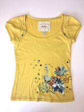 RIC RAC Anthropologie Womens SIZE XS Yellow Embroidered Tee T- Shirt Top Peacock