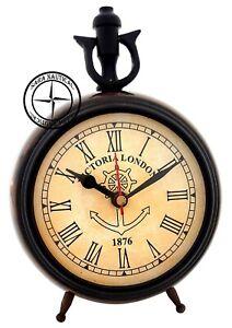 Antique-Brass-Maritime-Table-Clock-Nautical-Office-Desk-Decor-Victoria-London