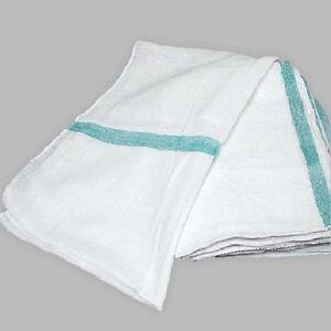 Details about 12 100% cotton tea towels green stripe dish towels lint free  flour sack towel
