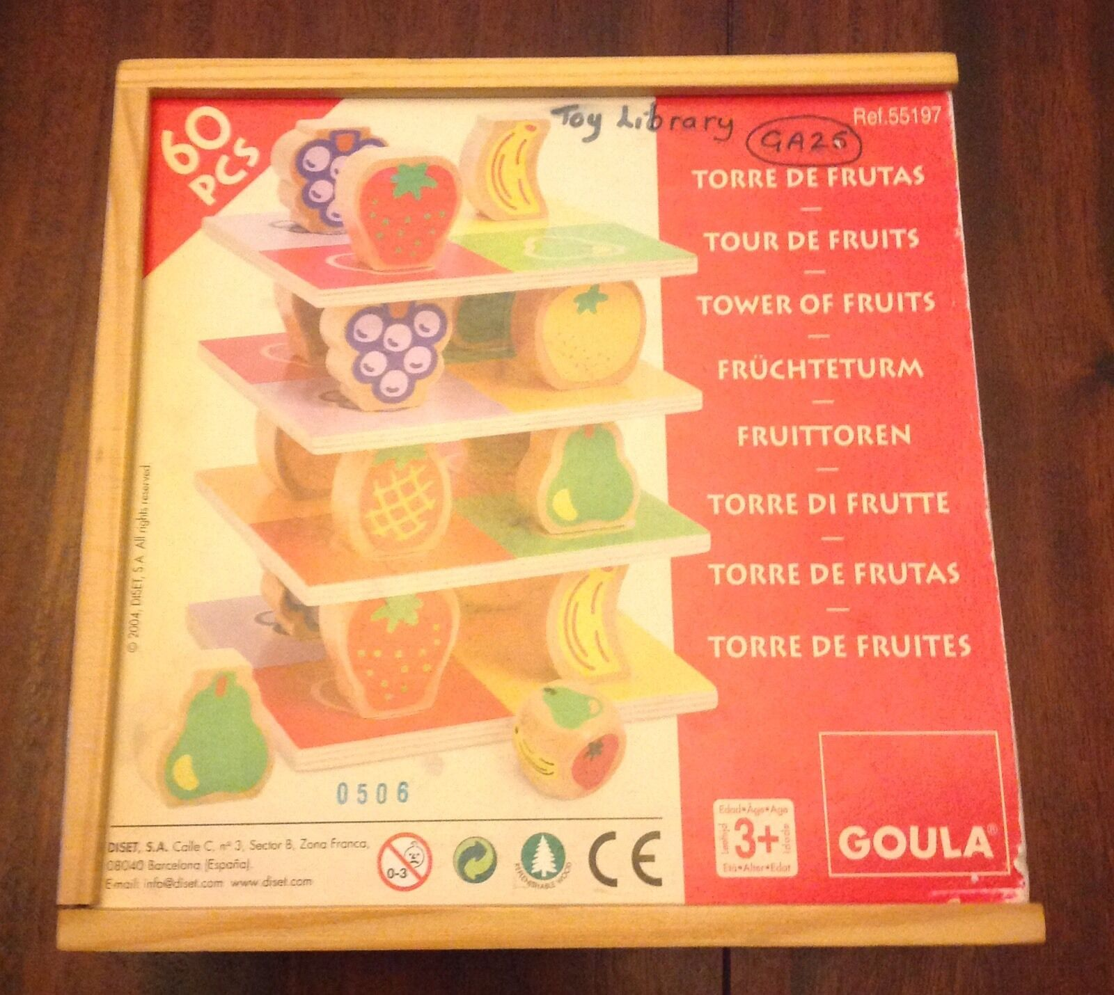 Rare Tower Of Fruits Wooden Game - Complete